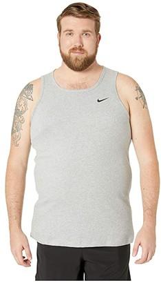 Nike Big Tall Dry Tank Top Dri-Fit Cotton Solid (Dark Grey Heather/White) Men's Sleeveless