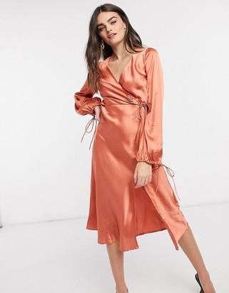 ASOS DESIGN satin wrap front midi dress