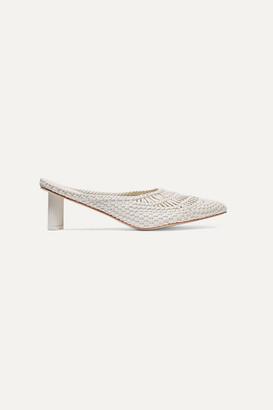 Cult Gaia Della Woven Leather Mules - White