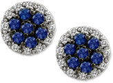 LeVian Le Vian® Sapphire (5/8 ct. t.w.) and Diamond (1/4 ct. t.w.) Round Stud Earrings in 14k White Gold