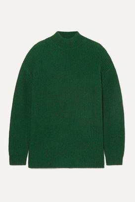 Alice + Olivia Alice Olivia - Sarah Open-back Ribbed Silk-blend Turtleneck Sweater - Forest green