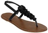 Wet Seal WetSeal Ruffle T-Strap Sandal Black