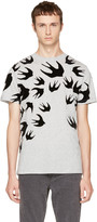 McQ by Alexander McQueen Grey and Black Swallows T-shirt