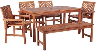 Hewson 6Pc Outdoor Patio Acacia Wood Dining Set