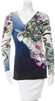 Roberto Cavalli Embellished V-Neck Top w/ Tags