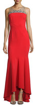 Marchesa Sleeveless Contour Ponte Gown, Red