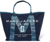 Marc Jacobs Printed Canvas-trimmed Denim Tote - Mid denim