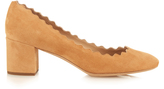Chloé Lauren scallop-edged block-heel suede pumps