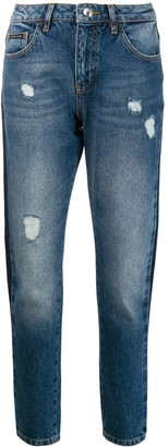 Philipp Plein Side-Striped Boyfriend Jeans