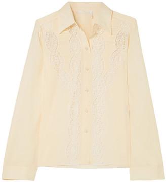 Chloé Lace-trimmed Ruched Silk Crepe De Chine Shirt