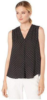 Vince Camuto Sleeveless Poetic Dots V-Neck Blouse (Rich Black) Women's Blouse