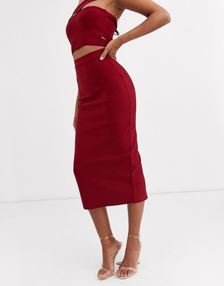 Band Of Stars bandage midaxi skirt in berry