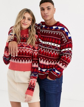 Asos Design DESIGN his & hers fairisle roll neck jumper-Multi