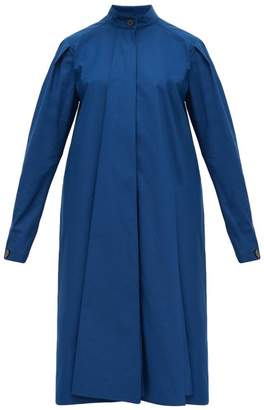 Lemaire Stand-collar Cotton Dress - Womens - Dark Blue