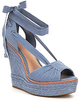 Gianni Bini Raedy Canvas Peep Toe Ankle Tie Espadrille Wedge Sandals