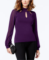 INC International Concepts Petite Mock-Neck Illusion-Sleeve Sweater, Created for Macy's