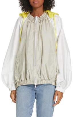 Tibi Contrast Sleeve Jacket with Detachable Hood