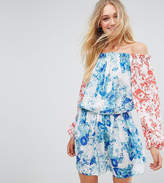 White Cove Tall Allover Mix Match Floral Off Shoulder Mini Dress With Fluted Sleeve Detail