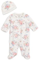Little Me Infant Girl's Blossoms Footie & Hat Set