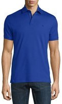 Ralph Lauren Snap/Zip Pique Polo Shirt, Cobalt Blue