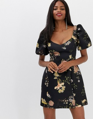 Asos DESIGN Balloon Sleeve Mini Dress in Floral Print