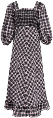Ganni Midi Checkered Dress