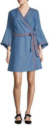 Stellah Racer Stripe Bell-Sleeve Wrap Chambray Dress