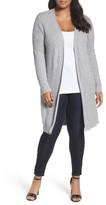Foxcroft Plus Size Women's Mix Stitch Cotton Duster Cardigan