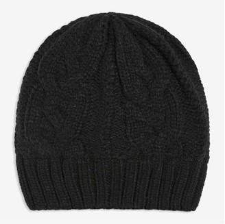 Joe Fresh Men's Cable Knit Beanie, Black (Size O/S)