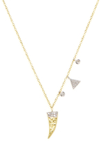 Meira T 14K Yellow Gold & 0.12 Total Ct. Diamond Claw Pendant Necklace