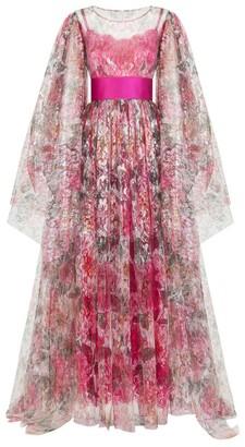 Dolce & Gabbana Camellia Print Lame Dress
