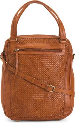 Made In Italy Leather Woven Backpack Tote