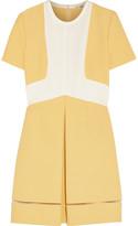 Fendi Two-tone cotton-crepe and silk-crepe mini dress