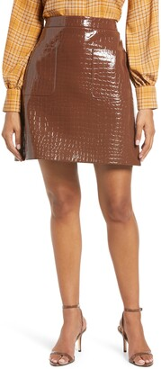 Halogen x Atlantic-Pacific Croc Embossed Faux Leather Miniskirt