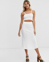 In The Style knitted ribbed midi skirt in white