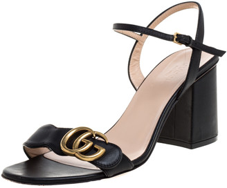 Gucci Black Leather GG Marmont Ankle Strap Block Heel Sandals Size 38