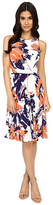Maggy London Tree Peony Printed Jersey Flare w/ Pleated Skirt