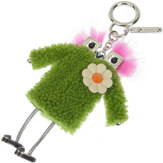 Fendi Green/Pink Mink and Fur Witches Bag Charm and Key Holder