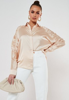 Missguided Satin Ruched Raglan Sleeve Shirt