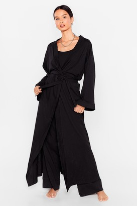Nasty Gal Womens Best Thing's Come in 3-Pc Cami Pants and Robe Set - Black