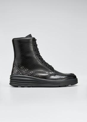 Fendi Men's Faded FF Moc-Toe Leather Combat Boots