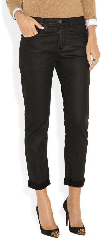Current/Elliott The Fling coated boyfriend jeans