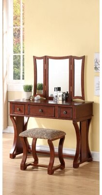 Darby Home Co Welling Vanity Set with Stool and Mirror Color: Brown