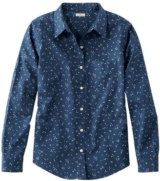L.L. Bean Women's Wrinkle-Free Pinpoint Oxford Shirt, Relaxed Fit Long-Sleeve Print