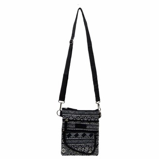 Lorenz. Ladies Quilted Funky Designs Cross Body Bag by Lorenz Travel Festival Handy -Aztec Black & White