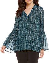 MICHAEL Michael Kors Tweed Haberdashery Print Georgette Bell Sleeve Tunic