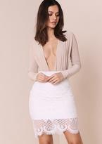 Missy Empire Aliya White Lace Mesh Overlay Midi Skirt
