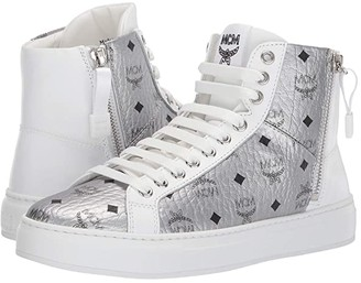 MCM High Top Lace-Up Visetos Sneaker (Berlin Silver) Women's Shoes