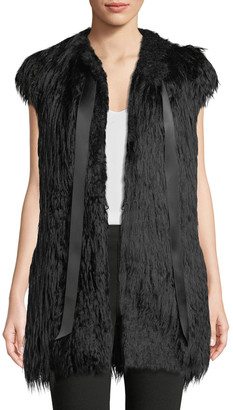 Amanda Baldan Satin Tie-Neck Faux-Fur Vest w/ Crystal Cactus