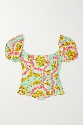 De La Vali Koko Ruffled Floral-print Cotton-blend Top - Turquoise